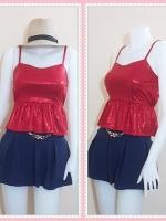 blouse2612 เสื้อแฟชั่นราคาส่ง เสื้อแฟชั่นสายเดี่ยวผ้ายืดวิ้งชายระบาย สีแดง