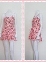 dress2258  ขายส่งเสื้อผ้าแฟชั่น เดรสแฟชั่นสายเดี่ยว ผ้าไหมอิตาลีลายเหลี่ยม สีขาวแดง
