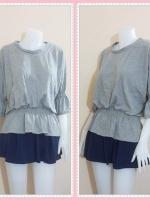 blouse2621 เสื้อแฟชั่นราคาส่ง เสื้อแฟชั่นไซส์ใหญ่เอวยืด แขนสามส่วนระบาย ผ้ายืดสีเทา