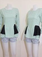 blouse1806 เสื้อแฟชั่นผ้าชีฟองลายขวาง แขนยาว ระบายเอว ซิปหลัง สีครีมเขียวพาสเทล