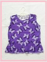 blouse2124 เสื้อแฟชั่นน่ารักแขนกุดชายระบาย ผ้าชีฟองลายโบว์มิกกี้เม้าส์สีม่วง