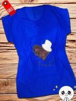 เสื้อยืด คละลายแต่งแฟชั่น ด้านหน้า คอบัว โทนสีฟ้าสด