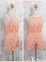 set_bp588 ชุดเซ็ทเข้าชุดเสื้อคอกลมแขนกุด+กางเกงขาสั้นเอวยืด ผ้าฮานาโกะเนื้อดีลายโบว์โทนสีส้มโอลด์โรส