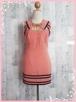 dress1915 ขายส่งเดรสแฟชั่นงานแพลตตินั่มทรงเข้ารูป ผ้าเนื้อดี คอบัวแหลม เว้าอก ซิปหลัง สีชมพูพาสเทล