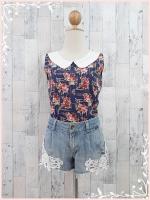 blouse3019 เสื้อคอบัวแขนกุดลายดอกไม้สีน้ำเงิน