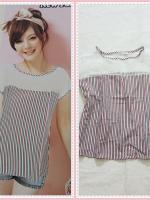 blouse2156 เสื้อแฟชั่นไซส์ใหญ่ แขนในตัว อกซีทรู ผ้าชีฟองลายทางโทนสีขาวเขียวแดง