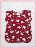 **สินค้าหมด blouse1985  เสื้อแฟชั่นน่ารัก แขนในตัว จัมพ์สะโพก ผ้าชีฟองเนื้อหนาลายหัวใจสีแดงเลือดหมู