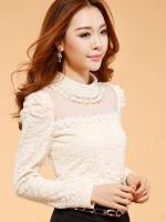 เสื้อผ้าแฟชั่นผู้หญิง Korean version features lace hollow bottoming shirt