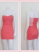 dress2326  ขายส่งเสื้อผ้าแฟชั่น เดรสแฟชั่นเกาะอกเสริมฟองน้ำบาง หลังริ้วเป็นเส้นๆ ซิปหลัง ผ้าสกินนี่(ยืดได้เยอะ) สีโอลด์โรสเข้ม Size M