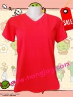 เสื้อเปล่าสีแดง คอวี Size L