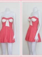 dress2261  ขายส่งเสื้อผ้าแฟชั่น เดรสแฟชั่นเกาะอกเสริมฟองน้ำ ผ้าสกินนี่(ยืดได้เยอะ) สีชมพูปูน