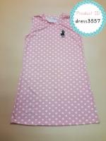 dress3557 ชุดเดรสน่ารัก อกสกรีน Polo ผ้าแมงโก้ยืดเนื้อนิ่มหนาสวย ลายจุดสีโอลด์โรส