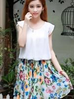เสื้อผ้าแฟชั่น เสื้อผ้าเกาหลี Creased flowers chiffon dress fight