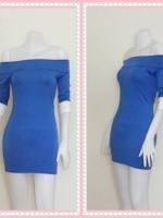 dress2269  ขายส่งเสื้อผ้าแฟชั่น เดรสแฟชั่นเปิดไหล่ แขนสามส่วนปลายขาว ผ้ายืดเนื้อดี สีน้ำเงิน