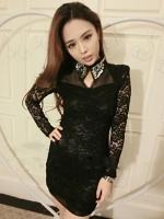 เสื้อผ้าแฟชั่น เสื้อผ้าเกาหลีHand-beaded lace collar dress