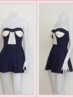 dress2265  ขายส่งเสื้อผ้าแฟชั่น เดรสแฟชั่นเกาะอกเสริมฟองน้ำ ผ้าสกินนี่(ยืดได้เยอะ) สีกรมท่า