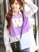 เสื้อผ้าแฟชั่น เสื้อผ้าเกาหลี South Korea W letters long sleeve shirt fake two