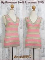 blouse3207 เสื้อแฟชั่น คอวี แขนกุด ผ้าไหมพรมยืดสลับสี โทนสีชมพู