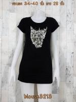 blouse3213 เสื้อยืดแฟชั่น คอกลม แขนสั้น ผ้าคอตตอนเนื้อนิ่มแต่งหมุด สีดำ