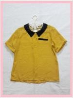 **สินค้าหมด blouse1926  เสื้อแฟชั่นน่ารักคอปกดำ แขนสั้น กระเป๋าหลอก ผ้าชีฟองโปร่งสีเหลืองมัสตาร์ด
