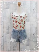 blouse3016 เสื้อคอบัวแขนกุดลายดอกไม้สีฟ้า