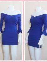 dress2949 ชุดเดรสราคาส่ง เดรสเข้ารูปฟองน้ำอก แขนสามส่วนระบายโชว์ไหล่ ซิปหลัง ผ้าสกินนี่(ยืดได้เยอะ) สีน้ำเงิน