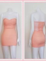 dress2322  ขายส่งเสื้อผ้าแฟชั่น เดรสแฟชั่นเกาะอกเสริมฟองน้ำบาง หลังริ้วเป็นเส้นๆ ซิปหลัง ผ้าสกินนี่(ยืดได้เยอะ) สีส้มพาสเทล (โอลด์โรสอ่อน) Size M