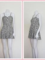 dress2257  ขายส่งเสื้อผ้าแฟชั่น เดรสแฟชั่นสายเดี่ยว ผ้าไหมอิตาลีลายเหลี่ยม สีขาวดำ