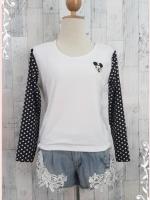 blouse3006 เสื้อแฟชั่นอกปักลายมิกกี้เม้าส์ เอวจัมพ์ ผ้าสำลีเนื้อนุ่มสีขาว แขนยาวชีฟองสีดำลายจุดขาว