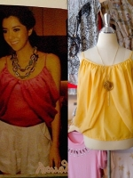 blouse1446 เสื้อแฟชั่นสไตล์ดารา ผ้าชีฟองเนื้อนิ่ม สายเดี่ยว แต่งดีเทลด้านข้าง สีเหลือง