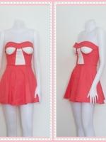 dress2264  ขายส่งเสื้อผ้าแฟชั่น เดรสแฟชั่นเกาะอกเสริมฟองน้ำ ผ้าสกินนี่(ยืดได้เยอะ) สีโอลด์โรสเข้ม