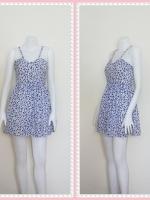 dress2259  ขายส่งเสื้อผ้าแฟชั่น เดรสแฟชั่นสายเดี่ยว เอวยางยืด ผ้าไหมอิตาลีลายเหลี่ยม สีขาวน้ำเงิน