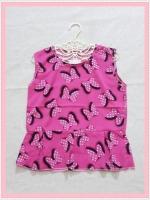 blouse2122 เสื้อแฟชั่นน่ารักแขนกุดชายระบาย ผ้าชีฟองลายโบว์มิกกี้เม้าส์สีชมพู
