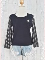 blouse3000 เสื้อแฟชั่นอกปักลายมิกกี้เม้าส์ เอวจัมพ์ ผ้าสำลีเนื้อนุ่มสีดำ แขนยาวชีฟองสีดำลายจุดขาว