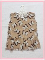 blouse2125 เสื้อแฟชั่นน่ารักแขนกุดชายระบาย ผ้าชีฟองลายโบว์มิกกี้เม้าส์สีน้ำตาล
