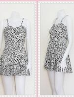 dress2257 เดรสแฟชั่นสายเดี่ยว ผ้าไหมอิตาลีลายเหลี่ยม สีขาวดำ
