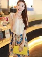 เสื้อผ้าแฟชั่น เสื้อผ้าเกาหลี Floral chiffon dress was thin Slim