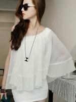 เสื้อผ้าแฟชั่น เสื้อผ้าเกาหลี Chiffon cape Paneled Dress
