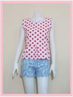 blouse2126 เสื้อแฟชั่นน่ารักแขนกุดชายระบาย ผ้าชีฟองลายจุดชมพูพื้นขาว