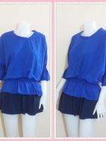 blouse2622 เสื้อแฟชั่นราคาส่ง เสื้อแฟชั่นไซส์ใหญ่เอวยืด แขนสามส่วนระบาย ผ้ายืดสีน้ำเงิน