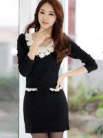 เสื้อผ้าแฟชั่น เสื้อผ้าเกาหลีKorean version of cultivating long-sleeved knit dress
