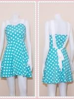 dress2346  ขายส่งเสื้อผ้าแฟชั่น : เดรสแฟชั่นน่ารักสายสปาเก็ตตี้ ผูกโบว์หลัง ซิปข้าง ผ้าไหมอิตาลีลายจุดขาว สีฟ้าพาสเทล