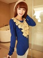 เสื้อผ้าแฟชั่น เสื้อผ้าเกาหลี Lace sequin long sleeve solid color t shirt