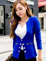 เสื้อผ้าแฟชั่น เสื้อผ้าเกาหลี Korean long sleeve double-breasted slim fit jacket