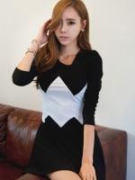 เสื้อผ้าแฟชั่นผู้หญิง Fashion hit color stitching long sleeve dress
