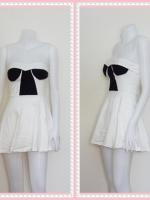 dress2267  ขายส่งเสื้อผ้าแฟชั่น เดรสแฟชั่นเกาะอกเสริมฟองน้ำ ผ้าสกินนี่(ยืดได้เยอะ) สีขาว