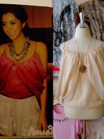 blouse1447  เสื้อแฟชั่นสไตล์ดารา ผ้าชีฟองเนื้อนิ่ม สายเดี่ยว แต่งดีเทลด้านข้าง สีครีม