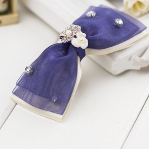 กิ๊บติดผมโบว์สีน้ำเงินขาวแต่งดอกไม้คริสตัล