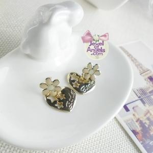 ต่างหู,ตุ้มหูแฟชั่นสไตล์เกาหลีรูปหัวใจลายดาวแต่งดอกไม้