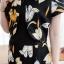 เดรสผ้ามิลินลายดอกทิวลิป + กั้กคลุมเย็บติดโบว์หน้าอก ซิปซ้อนด้านหลัง(ซับในไฮเกรดทั้งชุด) thumbnail 2